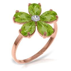 ALARRI 14K Solid Rose Gold Ring w/ Natural Diamond & Peridots
