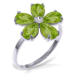 ALARRI 2.22 CTW 14K Solid White Gold Strive For Perfection Peridot Diamond Ring