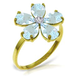ALARRI 2.22 Carat 14K Solid Gold Love Evolved Aquamarine Diamond Ring