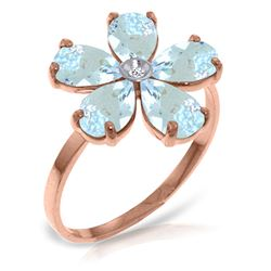 ALARRI 14K Solid Rose Gold Ring w/ Natural Diamond & Aquamarine