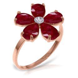 ALARRI 14K Solid Rose Gold Ring w/ Natural Diamond & Rubies