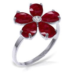 ALARRI 2.22 Carat 14K Solid White Gold Grandstand Ruby Diamond Ring