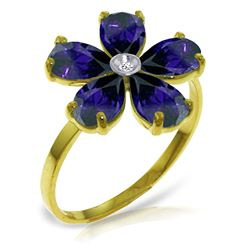ALARRI 2.22 Carat 14K Solid Gold Sleek And Chic Sapphire Diamond Ring