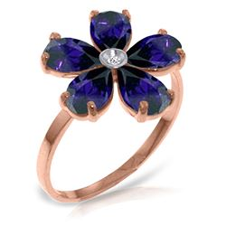 ALARRI 14K Solid Rose Gold Ring w/ Natural Diamond & Sapphires
