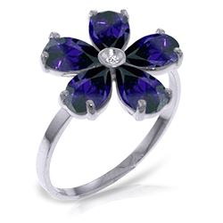 ALARRI 2.22 CTW 14K Solid White Gold Love Expands Sapphire Diamond Ring