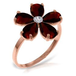 ALARRI 14K Solid Rose Gold Ring w/ Natural Diamond & Garnets