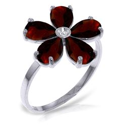 ALARRI 2.22 CTW 14K Solid White Gold Enjoy Tranquility Garnet Diamond Ring