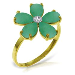 ALARRI 2.22 Carat 14K Solid Gold Emerald Rule Emerald Diamond Ring