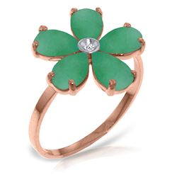 ALARRI 14K Solid Rose Gold Ring w/ Natural Diamond & Emeralds
