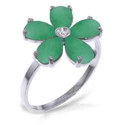 ALARRI 2.22 Carat 14K Solid White Gold Work Of Heart Emerald Diamond Ring