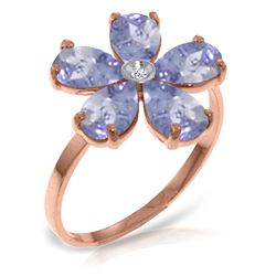 ALARRI 14K Solid Rose Gold Ring w/ Natural Diamond & Tanzanites