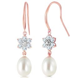 ALARRI 14K Solid Rose Gold Fish Hook Earrings w/ Diamonds, Aquamarines & Pearl