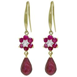 ALARRI 7.61 CTW 14K Solid Gold Botanica Ruby Diamond Earrings