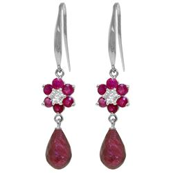 ALARRI 7.61 CTW 14K Solid White Gold Never Tire Of Kisses Ruby Diamond Earrings