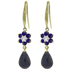 ALARRI 7.61 CTW 14K Solid Gold Botanica Sapphire Diamond Earrings