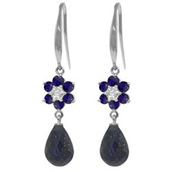 ALARRI 7.61 Carat 14K Solid White Gold Sea Shells Sapphire Diamond Earrings