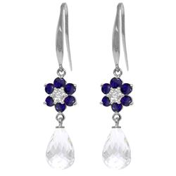 ALARRI 5.51 CTW 14K Solid White Gold Hook Earrings Diamond, Sapphire White Topaz