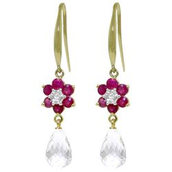 ALARRI 5.51 Carat 14K Solid Gold Hook Earrings Diamond, Ruby White Topaz