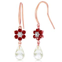 ALARRI 14K Solid Rose Gold Hook Earrings w/ Diamonds, Rubies & Rose Topaz