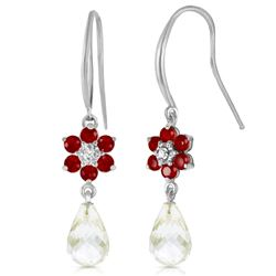 ALARRI 5.51 Carat 14K Solid White Gold Hook Earrings Diamond, Ruby White Topaz