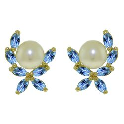 ALARRI 3.25 Carat 14K Solid Gold Stud Earrings Blue Topaz Pearl