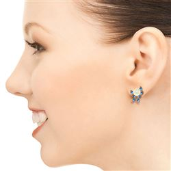 ALARRI 14K Solid Rose Gold Stud Earrings w/ Blue Topaz & Pearls