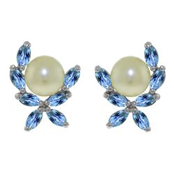 ALARRI 3.25 CTW 14K Solid White Gold Stud Earrings Blue Topaz Pearl