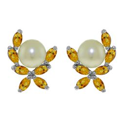 ALARRI 3.25 CTW 14K Solid White Gold Stud Earrings Natural Citrine Pearl