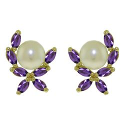ALARRI 3.25 CTW 14K Solid Gold Stud Earrings Natural Amethyst Pearl