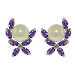 ALARRI 3.25 Carat 14K Solid White Gold Stud Earrings Natural Amethyst Pearl
