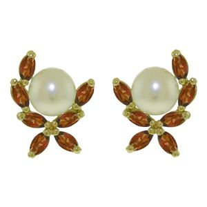 ALARRI 3.25 CTW 14K Solid Gold Stud Earrings Natural Garnet Pearl