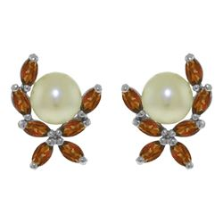 ALARRI 3.25 Carat 14K Solid White Gold Stud Earrings Natural Garnet Pearl