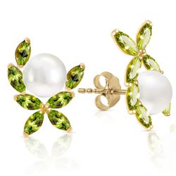 ALARRI 3.25 CTW 14K Solid Gold Stud Earrings Natural Peridot Pearl