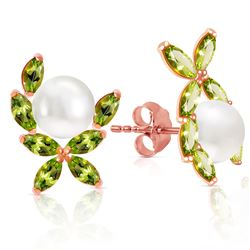 ALARRI 14K Solid Rose Gold Stud Earrings w/ Natural Peridots & Pearls