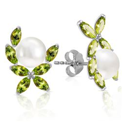 ALARRI 3.25 Carat 14K Solid White Gold Stud Earrings Natural Peridot Pearl