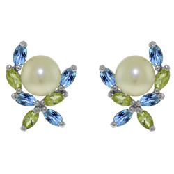 ALARRI 3.25 CTW 14K Solid White Gold Stud Earrings Peridot, Blue Topaz Pearl