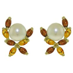 ALARRI 3.25 CTW 14K Solid Gold Stud Earrings Garnet, Citrine Pearl
