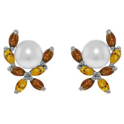 ALARRI 3.25 Carat 14K Solid White Gold Stud Earrings Garnet, Citrine Pearl