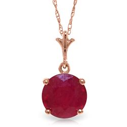 ALARRI 2.25 CTW 14K Solid Rose Gold Single Round Ruby Necklace