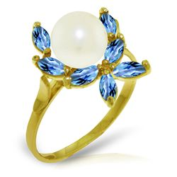 ALARRI 2.65 Carat 14K Solid Gold Ring Natural Blue Topaz Pearl