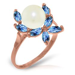 ALARRI 14K Solid Rose Gold Ring w/ Natural Blue Topaz & Pearl