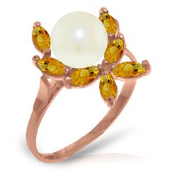 ALARRI 14K Solid Rose Gold Ring w/ Natural Citrines & Pearl
