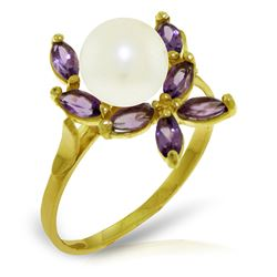 ALARRI 2.65 Carat 14K Solid Gold Ring Natural Amethyst Pearl