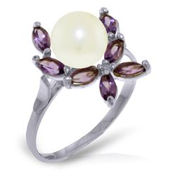 ALARRI 2.65 Carat 14K Solid White Gold Ring Natural Amethyst Pearl