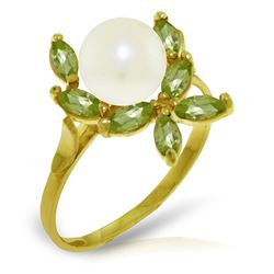 ALARRI 2.65 Carat 14K Solid Gold Ring Natural Peridot Pearl