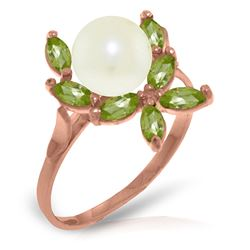 ALARRI 14K Solid Rose Gold Ring w/ Natural Peridots & Pearl