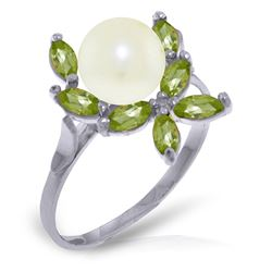 ALARRI 2.65 Carat 14K Solid White Gold Ring Natural Peridot Pearl