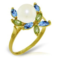 ALARRI 2.63 Carat 14K Solid Gold Ring Natural Peridot, Blue Topaz Pearl