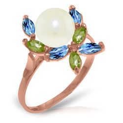 ALARRI 14K Solid Rose Gold Ring w/ Natural Peridots, Blue Topaz & Pearl