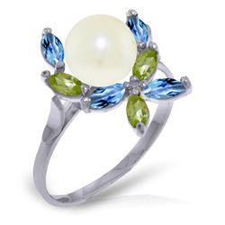 ALARRI 2.63 CTW 14K Solid White Gold Ring Natural Peridot, Blue Topaz Pearl